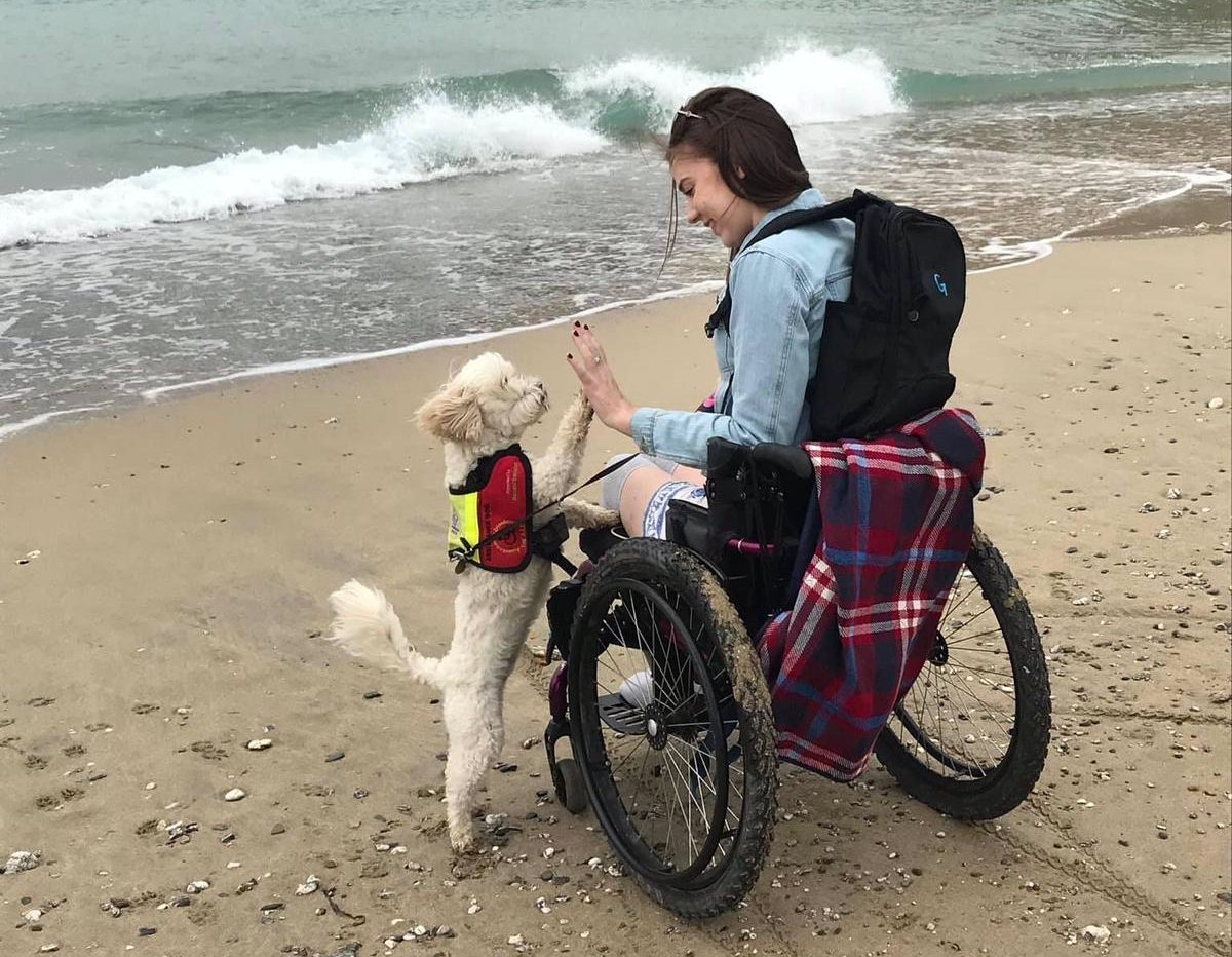 ruth and willow the assistance dog beach